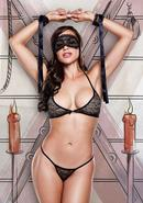 Love Slave - Black Lace Bra/panty/mask